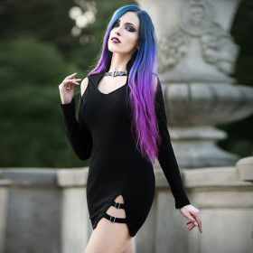 Sexy women's dress with long sleeves hollowed out