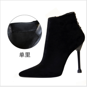 Euro-American retro fashion banquet women's slim pointed suede boots with high heels and sexy nightclubs