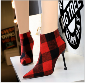Euro-American fashion winter women's boots with fine heels, high heels, pointed suede and thin trendy Plaid boots