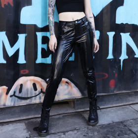 Night Club Sexy, Body-building, Colourful Hip-up Leather Pants, Lacquer Skin, Glossy Urban Street Leisure Pants