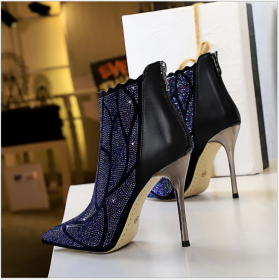 European and American fashion sexy banquet metal heel super high heel pointed thin nightclub water drill boots