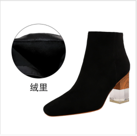 Euro-American Fashion Coloured Transparent Crystal Shoes with Rough heels, High heels, Suede Face, Square Head Sexy Nightclubs