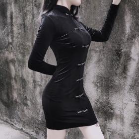 Chinese style retro elegant improved cheongsam temperament commuter high waist zipper Long Sleeve Dress