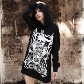 Print Grunge Gothic sweatshirt Women Harajuku Vintage Punk Autumn 2019 Female Hoodies Longesleeve Aesthetic Fashion