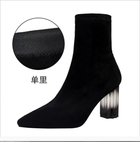 European and American Winter Fashion Simple Slim Shoes with Rough-heeled Crystal and High-heeled Suede Top Sexy Night Club