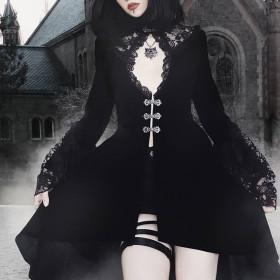 French dark court style retro autumn and winter dress Gothic elegant lace long sleeve Lantern Sleeve Dress