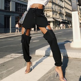 Casual pants, shorts and trousers, two pairs of handsome Street pants with holes in their feet