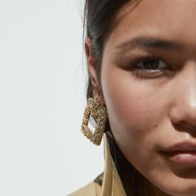 Alloy Grinding Geometric Block Earrings