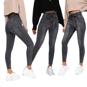 Casual pure jeans fashion bracts high belt trousers