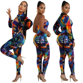 Fashion colour print suit + dress trousers