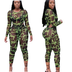 Fashion Alphabet Printed Sexy Screen Long Sleeve Two-piece Set