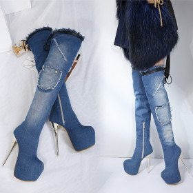 Super high heel waterproof table jeans over knee boots