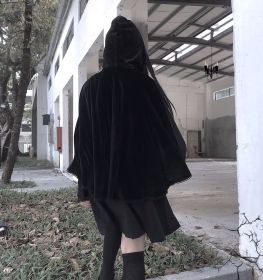Lolita's improved retro cloak cross-border cap, disc button, solid-color sleeveless suede Long-style Cloak