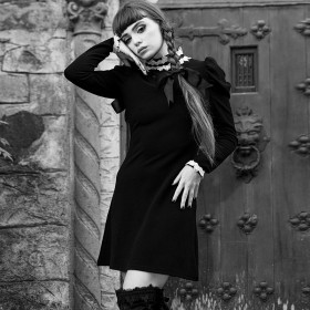 New Knitted Collar Castle Princess Long Sleeves with Modified Dark Cheongsam Skirt