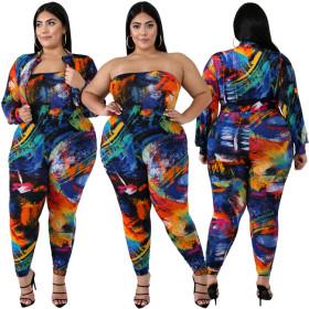 Fashion figure-building digital printed elastic pants suit