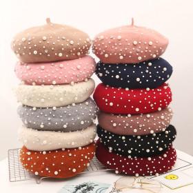 Wool Women Winter berets Luxury pearl rivet Vintage Cashmere Female Warm Vogue beret Hats Girls Flat cap beret for women