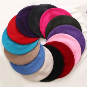 Fashion New Women Wool Solid Color Beret Female Bonnet Caps Winter All Matched Warm Walking Hat Cap
