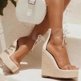 Transparent lace up slope Heel Platform Sandal
