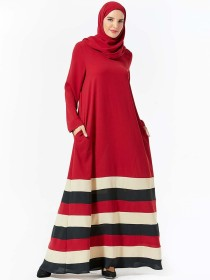 Fashionable and dignified panel color contrast stripe pocket long sleeve round neck Arabian long skirt (excluding headscarf)