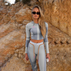 women fitness two pieces set tracksuit long sleeve crop top letters print elastic skinny leggings sportswear slim outfit