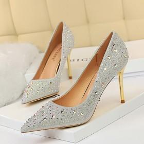 Fashion sexy thin metal heel Stiletto High Heel shallow pointed water drill women's single shoe high heel shoes