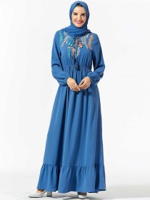 Fashionable, comfortable, large women's dress, plant embroidery, elastic waist, leisure and large dress (excluding headscarf)