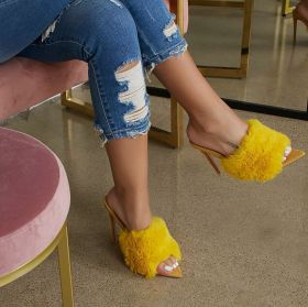 Fluffy pointy stiletto high heels shoes woman fur slipper sandals rose yellow pink nude black EUR 43 42