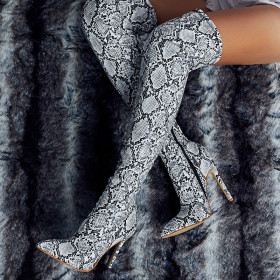 Snake pattern pointed toe knee high heel boots