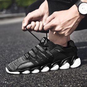 Plus Size Men Running Shoes Breathable Flywire Mesh Sneakers Patchwork Lace Up Jogging Walking Fitness Sport Shoes Mens Trainers
