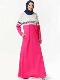 Arabian dress letter print panel color contrast pocket long skirt (excluding headscarf)