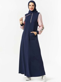 Fashionable women's sweater hooded pocket plant embroidered Muslim long skirt (excluding headscarf)