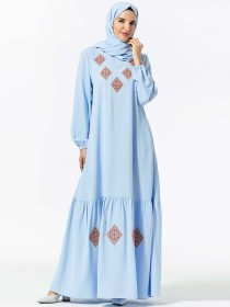 Fashionable women's geometric embroidered pocket with Muslim leisure dress (excluding headscarf)