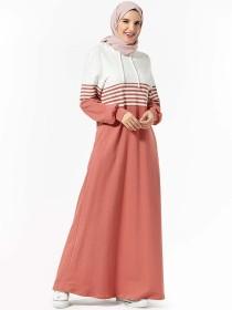 Arabian women's sweater hooded fashion stripe pocket splicing casual long skirt (excluding headscarf)