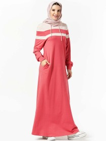 Comfortable sweater, hooded pocket, patchwork casual long skirt, Muslim long skirt (excluding headscarf)