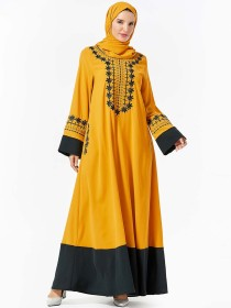 Middle East dress fashion women's Floral Embroidered pocket panel large dress (excluding headscarf)