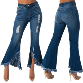 Fashionable and all-round old denim trousers with burred hem and flared wide leg