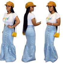 Personalized slim flower bud skirt with denim skirt
