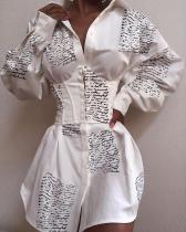 Turn-down Collar Letter Print Buttoned Shirt Dress