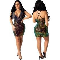 Sequin sling fringe dress