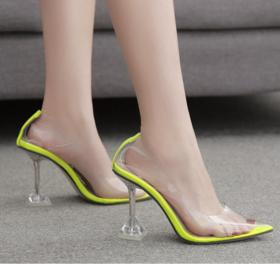 Women's shoes with pointy head, shallow mouth, high heel, transparent glass and single shoes