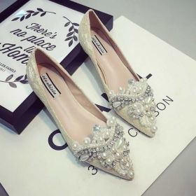 Sweet pointed flat sole single shoes Beaded Pearl water drill pointed flat heel women's shoes