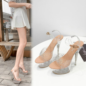 Sexy Rhinestone Crystal High Heel Platform buckle sandals