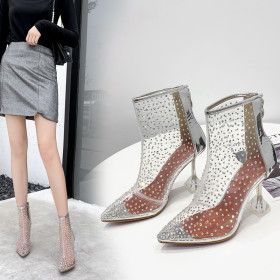 Sexy pointed diamond HIGH HEELS SHORT BOOTS transparent wine glass and women's Boots