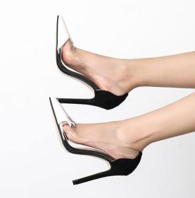 Pointy light mouth color matching transparent single Shoes Sexy thin high heels women's shoes
