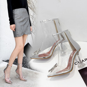 Transparent pointed sexy short boots, rhinestones and cool women's Boots