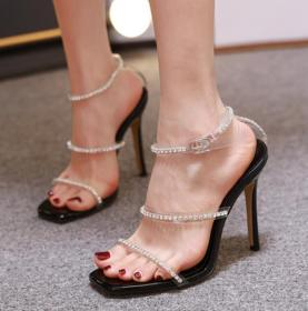 Luxurious crystal diamond transparent Roman high heel square head thin heel sandals