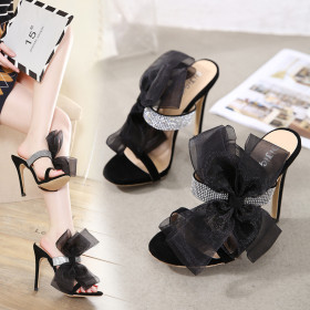 Rhinestone lace bow high heels sandals women's sandals