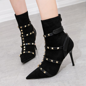 Retro chivalrous boots, thin heels, super high heels, sexy nightclub, thin pointed rivet boots