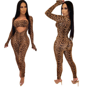 Fashion leopard print casual long sleeve chest binding one-piece pants
