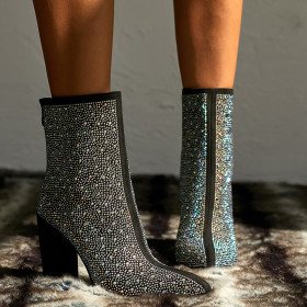 Sexy luxury Rhinestone high heel pointed short boots women's Boots